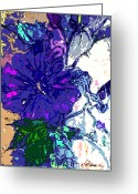 Violet Greeting Cards - Petunia Blue Greeting Card by Mindy Newman
