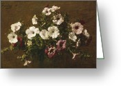 Signed Greeting Cards - Petunias Greeting Card by Ignace Henri Jean Fantin-Latour