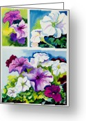 Purples Greeting Cards - Petunias in Summer Greeting Card by Janis Grau