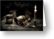 Coin Greeting Cards - Pewter Still Life I Greeting Card by Tom Mc Nemar