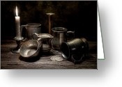 Silver Pitcher Greeting Cards - Pewter Still Life II Greeting Card by Tom Mc Nemar