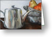 Teapot Greeting Cards - Pewter Teapot and Bowls Greeting Card by Amy Higgins