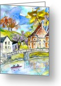 Landes Drawings Greeting Cards - Peyrehorade 01 Greeting Card by Miki De Goodaboom
