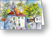 Landes Drawings Greeting Cards - Peyrehorade 02 Greeting Card by Miki De Goodaboom