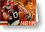 Running Back Greeting Cards - Peyton Hillis Greeting Card by Jim Wetherington