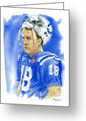 Football Painting Greeting Cards - Peyton Manning - Heart of the Champion Greeting Card by George  Brooks
