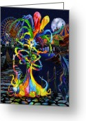 Clown Greeting Cards - Phantom Carnival Greeting Card by Kd Neeley
