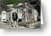 Charles River Digital Art Greeting Cards - Phantom In A New Orleans Cemetery Greeting Card by James Griffin
