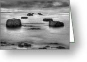 Black White Greeting Cards - Phantom Pier Greeting Card by Ryan Wyckoff