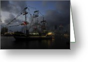 Pirate Ship Greeting Cards - Phantom ship Greeting Card by David Lee Thompson