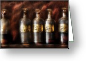 Drug Greeting Cards - Pharmacist - Five Bottles Greeting Card by Mike Savad