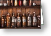 Drug Greeting Cards - Pharmacist - In a Pharmacists Lab  Greeting Card by Mike Savad