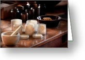 Nurse Greeting Cards - Pharmacist - Pestle and cups Greeting Card by Mike Savad