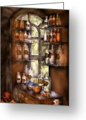 Magic Greeting Cards - Pharmacist - Various Potions Greeting Card by Mike Savad