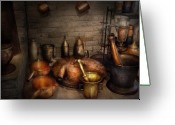 Healer Greeting Cards - Pharmacy - Alchemists kitchen Greeting Card by Mike Savad