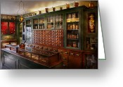 Cabinet Room Greeting Cards - Pharmacy - Ill be out in a minute  Greeting Card by Mike Savad