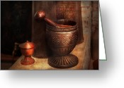 Suburban Greeting Cards - Pharmacy - Pestle - Luxury Tools  Greeting Card by Mike Savad