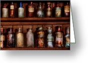 Apothecary Greeting Cards - Pharmacy - Caution Dont mix together Greeting Card by Mike Savad