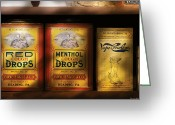 Sick Greeting Cards - Pharmacy - Cough Drops Greeting Card by Mike Savad