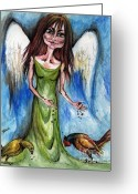 Guardian Angel Drawings Greeting Cards - Pheasant Angel Greeting Card by Angel  Tarantella