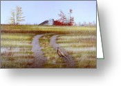 Egg Tempera Painting Greeting Cards - Pheasant Country. Greeting Card by Conrad Mieschke