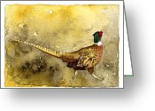 Pheasant Greeting Cards - Pheasant Greeting Card by Eunice Olson