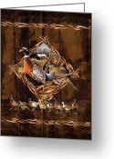 Rooster Painting Greeting Cards - Pheasant Lodge Greeting Card by JQ Licensing