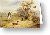 Hillside Greeting Cards - Pheasant Shooting Greeting Card by Henry Thomas Alken