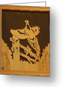 Scroll Saw Sculpture Greeting Cards - Pheasant taking off Greeting Card by Russell Ellingsworth