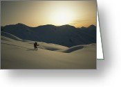 Winter Views Greeting Cards - Phil Atkinson Skiing The Purcell Greeting Card by Tim Laman
