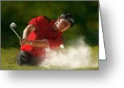 Clubs Greeting Cards - Phil Mickelson - Lefty in Action Greeting Card by Colleen Taylor
