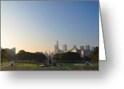 Philadelphia Museum Of Art Greeting Cards - Philadelphia Across Eakins Oval Greeting Card by Bill Cannon
