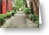 Red Building Greeting Cards - Philadelphia Alley Charleston Pathway Greeting Card by Dustin K Ryan
