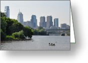 Tall Buildings Greeting Cards - Philadelphia Along the Schuylkill River Greeting Card by Bill Cannon