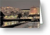 Philadelphia Greeting Cards - Philadelphia Art Museum in Pastel Greeting Card by Deborah  Crew-Johnson