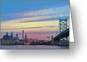 Cityscape Digital Art Greeting Cards - Philadelphia at Dawn Greeting Card by Bill Cannon