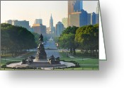 City Hall Greeting Cards - Philadelphia Benjamin Franklin Parkway Greeting Card by Bill Cannon
