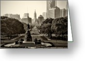 Art Museum Greeting Cards - Philadelphia Benjamin Franklin Parkway in Sepia Greeting Card by Bill Cannon