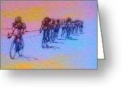 Racer Digital Art Greeting Cards - Philadelphia Bike Race Greeting Card by Bill Cannon