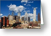 Philly Digital Art Greeting Cards - Philadelphia Blue Skies Greeting Card by Bill Cannon