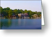 "\""boathouse Row\\\"" Greeting Cards - Philadelphia Boat House Row Greeting Card by Bill Cannon"