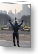 Art Museum Greeting Cards - Philadelphia Champion - Rocky Greeting Card by Bill Cannon