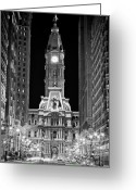 Philadelphia Greeting Cards - Philadelphia City Hall at Night Greeting Card by Val Black Russian Tourchin