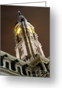 Philadelphia Greeting Cards - Philadelphia City Hall Clock Tower at Night Greeting Card by Gary Whitton