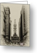 City Hall Digital Art Greeting Cards - Philadelphia City Hall From South Broad Street Greeting Card by Bill Cannon