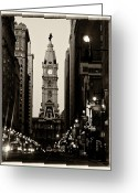 Hall Greeting Cards - Philadelphia City Hall Greeting Card by Louis Dallara