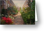 Phillie Photo Greeting Cards - Philadelphia Courtyard - Symphony of Springtime Gardens Greeting Card by Carol Senske
