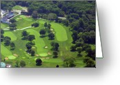 Aerials Greeting Cards - Philadelphia Cricket Club Wissahickon Golf Course 1st and 18th Holes Greeting Card by Duncan Pearson