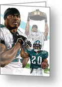 Sports Artist Greeting Cards - Philadelphia Eagles Legend Brian Dawkins Greeting Card by David E Wilkinson