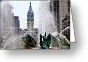 Swann Greeting Cards - Philadelphia Fountain Greeting Card by Bill Cannon